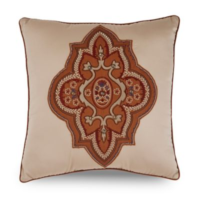 Downton Abbey® Grantham Embroidered Square Throw Pillow in Gold/Rust