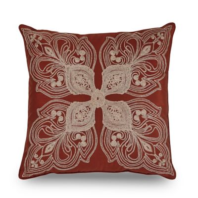 Downton Abbey® Grantham Embroidered Square Throw Pillow in Red