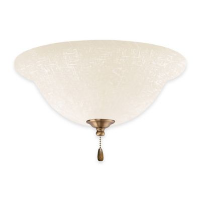 Emerson White Linen LED Bowl Light Kit for Ceiling Fan in Antique Brass