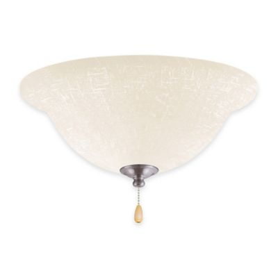 Emerson White Linen LED Bowl Light Kit for Ceiling Fan in Brushed Steel