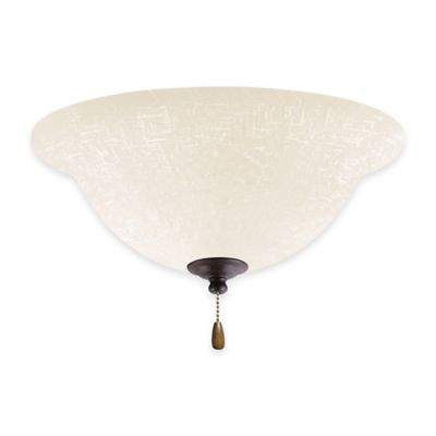 Emerson White Linen LED Bowl Light Kit for Ceiling Fan in Distressed Bronze