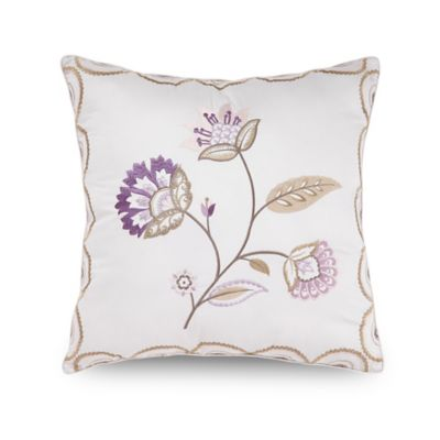 Downton Abbey® Crawley Flower Embroidered Square Throw Pillow in Cream