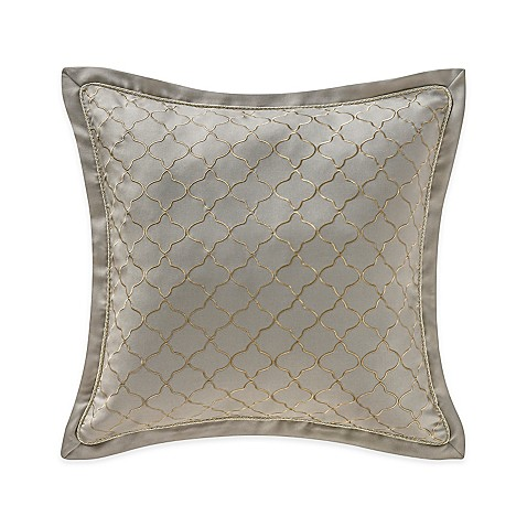 Buy Waterford Linens Marcello Quatrefoil Decorative Throw Pillow in Taupe from Bed Bath & Beyond