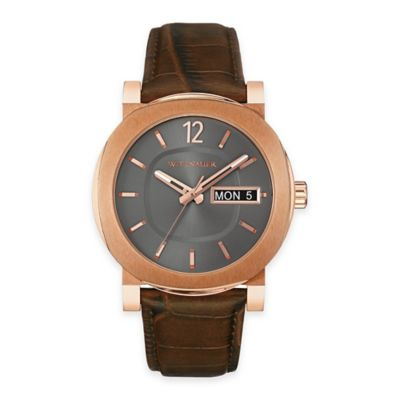 Wittnauer Men's 42mm Gunmetal Dial Watch in Rose Goldtone Stainless Steel with Brown Leather Strap
