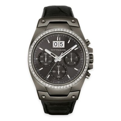 Wittnauer Men's 43mm Chronograph Crystal Watch in Gunmetal Stainless Steel w/ Black Leather Strap