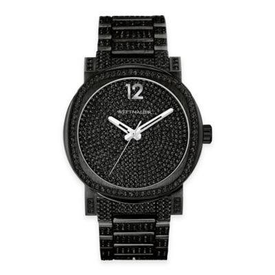 Wittnauer Men's 42mm Pave Black Crystal Dial Watch in Black Ion-Plated Stainless Steel