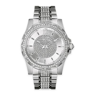 Wittnauer Men's 43mm Crystal Watch in Stainless Steel w/Silver-White Pavé Dial and Cabochon Crown