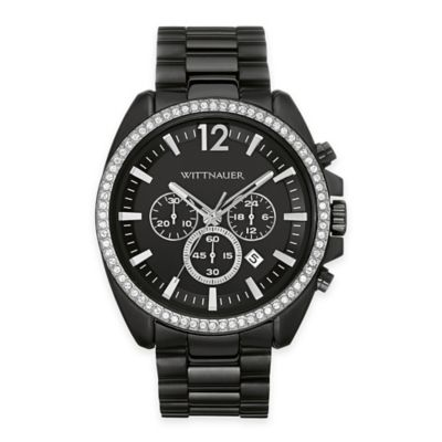 Wittnauer Men's 44mm Crystal-Accented Chronograph Watch in Black Ion-Plated Stainless Steel