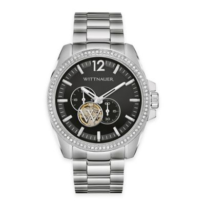 Wittnauer Men's 44mm Chronograph Crystal Automatic Watch in Stainless Steel w/ Black Dial
