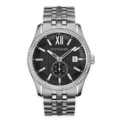 Wittnauer Men's 43mm Crystal Watch in Stainless Steel w/ Black Multi-Level Dial