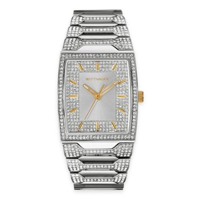 Wittnauer Men's Pavé Crystal Tonneau Watch in Stainless Steel w/ Silver-White Dial