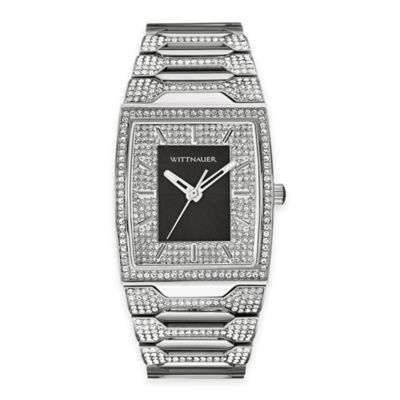 Wittnauer Men's Pavé Crystal Tonneau Watch in Stainless Steel w/ Black Dial