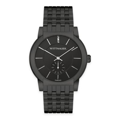 Wittnauer Men's 41.5mm Black Crystal-Accented Dial Watch in Black Ion-Plated Stainless Steel