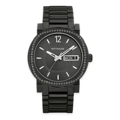 Wittnauer Men's Black Dial Crystal-Accented Bezel Watch in Black Ion-Plated Stainless Steel
