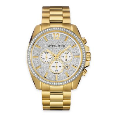 Wittnauer Men's 44mm Crystal Dial Chronograph Watch in Goldtone Stainless Steel