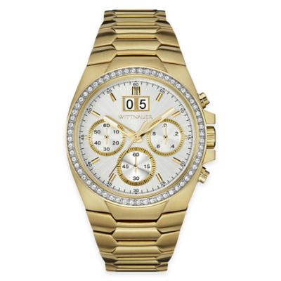 Wittnauer Men's 41mm Crystal-Accented Chronograph Watch in Goldtone Stainless Steel