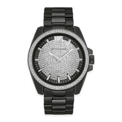 Wittnauer Men's 44mm Pave Crystal Dial Watch in Black Ion-Plated Stainless Steel