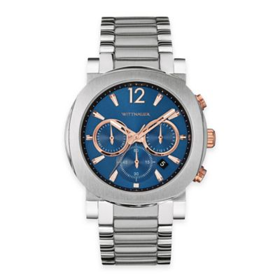 Wittnauer Men's 42mm Blue Rose Goldtone Accented Dial Chronograph Watch in Stainless Steel