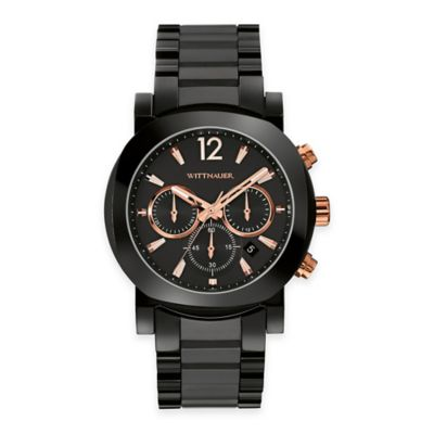 Wittnauer Men's 42mm Rose Gold Detail Chronograph Watch in Black Stainless Steel w/ Ceramic Band