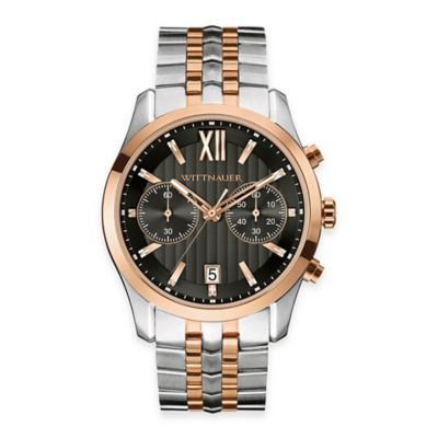 Wittnauer Men's 43mm Black Dial Chronograph Watch in Two-Tone Stainless Steel