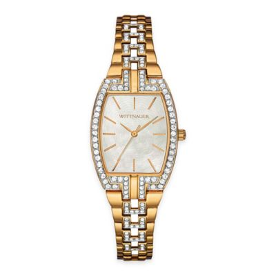 Wittnauer Ladies' Crystal Barrel Watch in Goldtone Stainless Steel w/ Mother of Pearl Dial