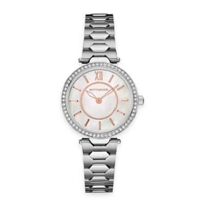 Wittnauer Ladies' 30mm Crystal-Accented Etched Mother of Pearl Dial Watch in Stainless Steel