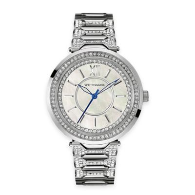 Wittnauer Ladies' 38mm Double Halo Crystal-Accented Mother of Pearl Dial Watch in Stainless Steel