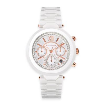 Wittnauer Ladies' 38mm Chronograph Crystal Watch in White Ceramic w/White Dial