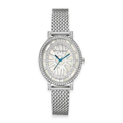 Wittnauer Ladies' Crystal Oval Watch in Stainless Steel with Mother of Pearl Dial and Blue Hands