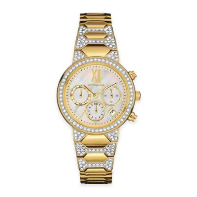 Wittnauer Ladies' 32mm Chronograph Crystal Watch in Goldtone Stainless Steel w/Mother of Pearl Dial