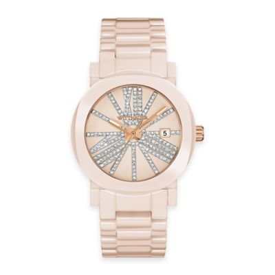 Wittnauer Ladies' 36.5mm Crystal-Accented Dial Watch in Blush Pink Ceramic