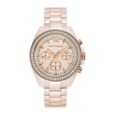 Wittnauer Ladies' Chronograph Crystal Watch in Blush-tone Ceramic with Cream Dial