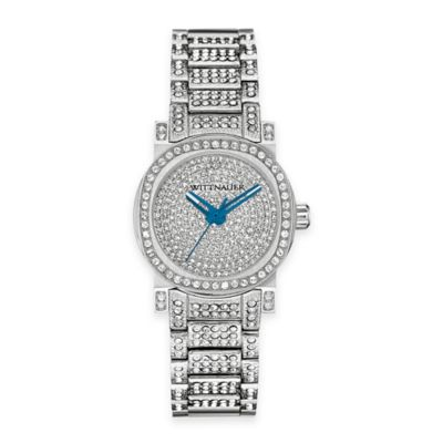 Wittnauer Ladies' 33.8mm Pave Crystal-Accented Round Dial Watch in Stainless Steel
