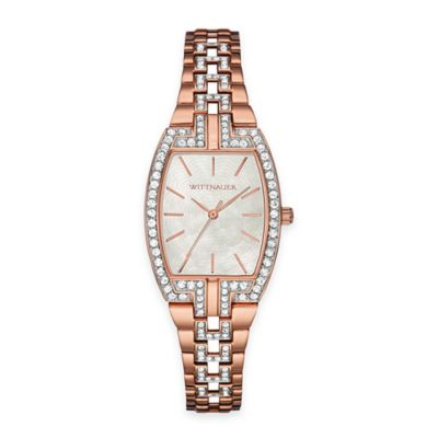 Wittnauer Ladies' 25mm Crystal-Accent Mother of Pearl Tonneau Watch in Rose Gold Stainless Steel