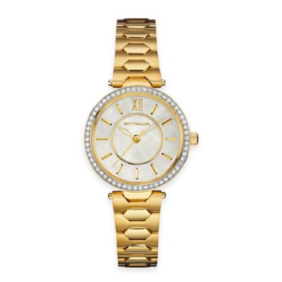 Wittnauer Ladies' 30mm Crystal-Accented Mother of Pearl Dial Watch in Goldtone Stainless Steel