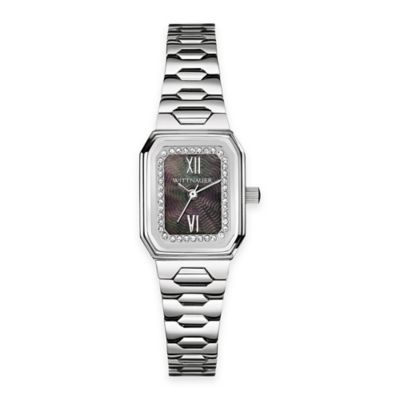 Wittnauer Ladies' Crystal Baguette Watch in Stainless Steel w/ Black Mother of Pearl Dial
