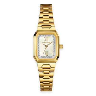 Wittnauer Ladies' 20mm Crystal-Accented Mother of Pearl Tonneau Watch in Goldtone Stainless Steel