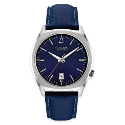 Bulova Accutron II Men's 41mm Navy Dial Watch in Stainless Steel with Navy Leather Strap