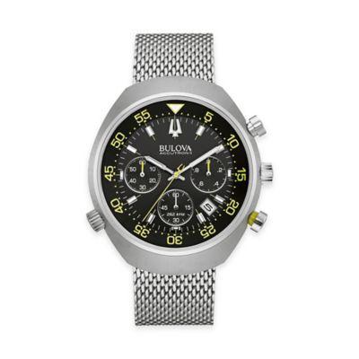 Bulova Accutron II Men's 45mm Round UHF Chronograph Black Watch in Stainless Steel