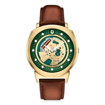 Bulova Accutron II Men's 42mm Alpha Green Dial Watch in Goldtone Stainless Steel with Leather Strap