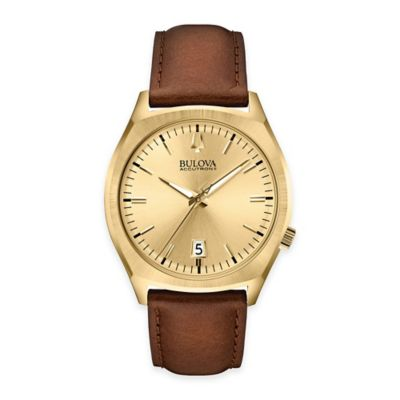 Bulova Accutron II Men's 41mm Round Dial Watch in Goldtone Stainless Steel with Brown Leather Strap