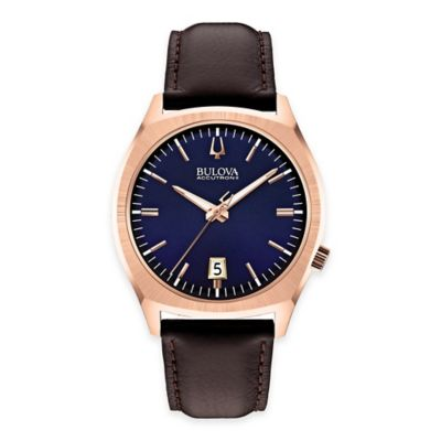 Bulova Accutron II Men's 41mm Round Dial Watch in Rose Goldtone Stainless Steel with Leather Strap