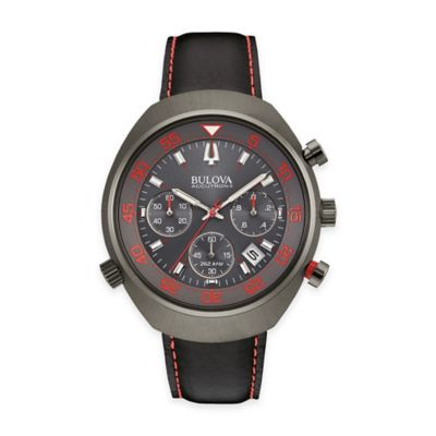 Bulova Accutron II Men's UHF Chronograph Watch in Grey Ion-Plated Stainless Steel with Black Strap