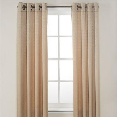 Odyssey 63-Inch Grommet Top Room Darkening Window Curtain Panel in Linen
