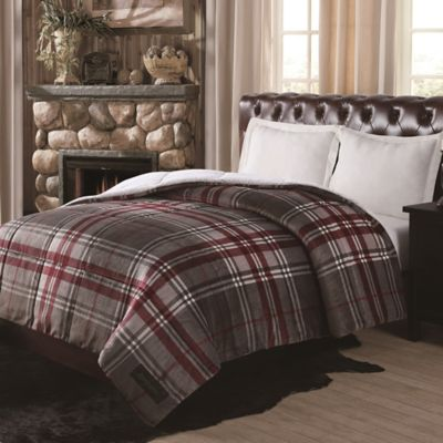 Remington® Ultra Velvet Plaid Reversible Queen Comforter in Grey