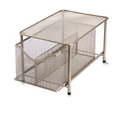 .ORG Large Under the Sink Mesh Slide-Out Storage Drawer with Shelf in Bronze