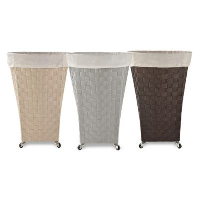 LaMont Home Linden Wheeled Round Hamper in Chocolate