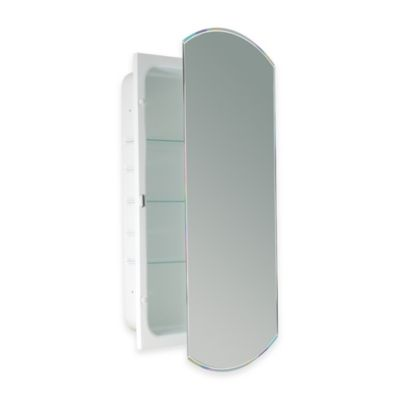 Recessed Beveled Recessed Mirrored Medicine Cabinet in White