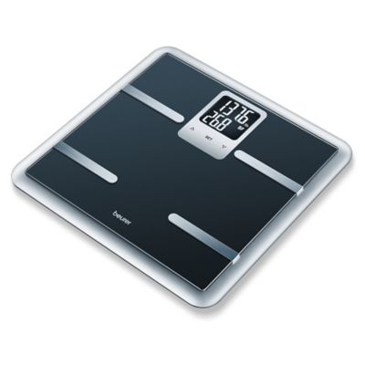 Beurer Glass Body Analysis Bathroom Scale with Large 2-Line LCD Display in Black