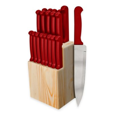 Ginsu Quikut 20-Piece Knife Block Cutlery Set in Red